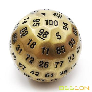 Bescon Solid Metal 100 Sided Dice, Game Dice D100,Giant Polyhedral Metal 100 Sides Dice 50MM in Diameter (1.97in), Ancient Brass