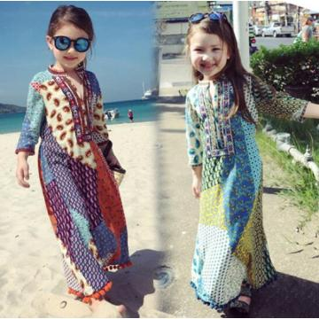 New India Ethnic Styles Dress Woman Girl Pringting Beautiful Costume Mom Kids Daily Comfortable Dress