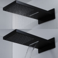 Rainfall Thermostatic Black Shower Faucet with Sliding Bar