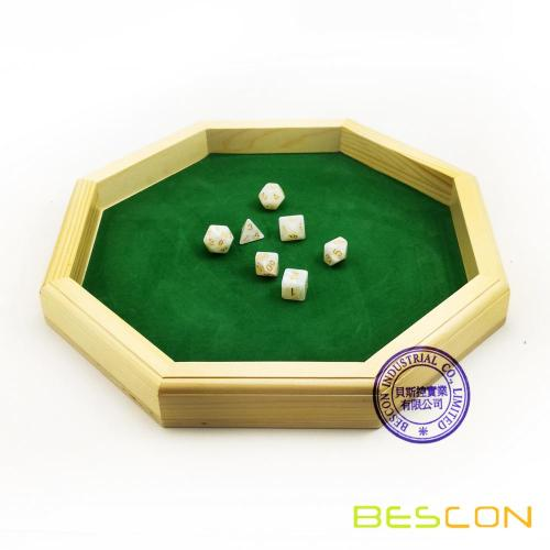 Heavy Duty 12 Inch Octagonal Wooden Dice Tray with Felt Lined Rolling Surface