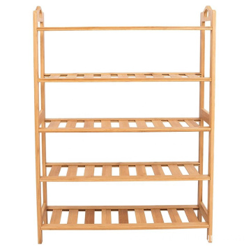 HOME Free Standing Bamboo Shoe Rack with Handles | 5 Tier | Wood | Closets and Entryway | Organizer | Fits 15 Pairs