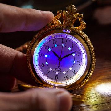 Nw Train Locomotive Engine Pattern LED lighting Flash Quartz Pocket Watch Necklace Pendant Chain Unisex Gifts Clock cep saatie