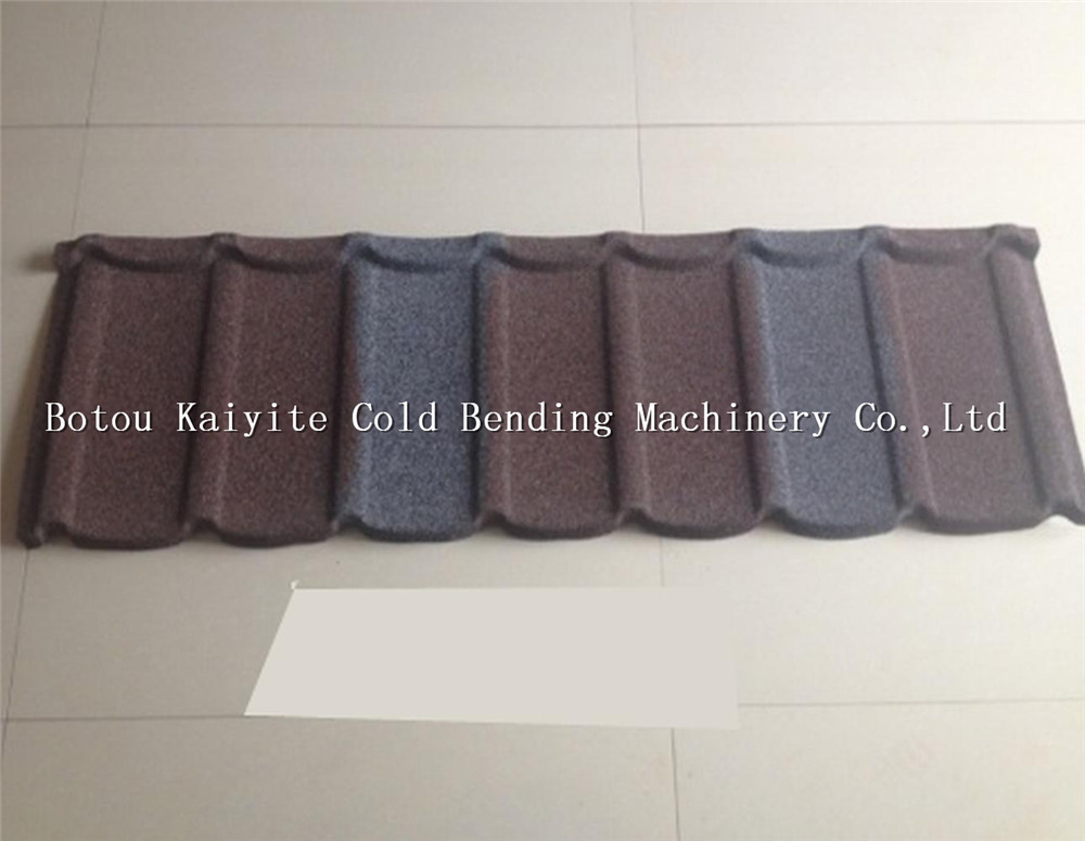 Distinguished color stone coated metal roofing tile