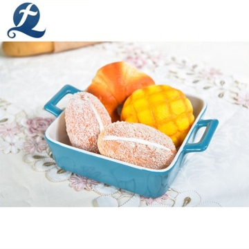 New customized printed multifarious shaped bakeware restaurant ceramic baking pan with handle