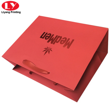 Luxury Red Foil Paper Bag with ribbon Handle