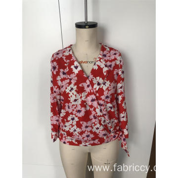 Floral cross collar tie top with long sleeves