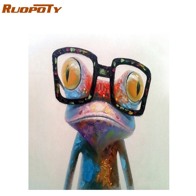 RUOPOTY diy frame Painting Frog Animals Painting By Numbers Acrylic Picture Hand Painted Oil Painting For Unique Gift 40x50CM