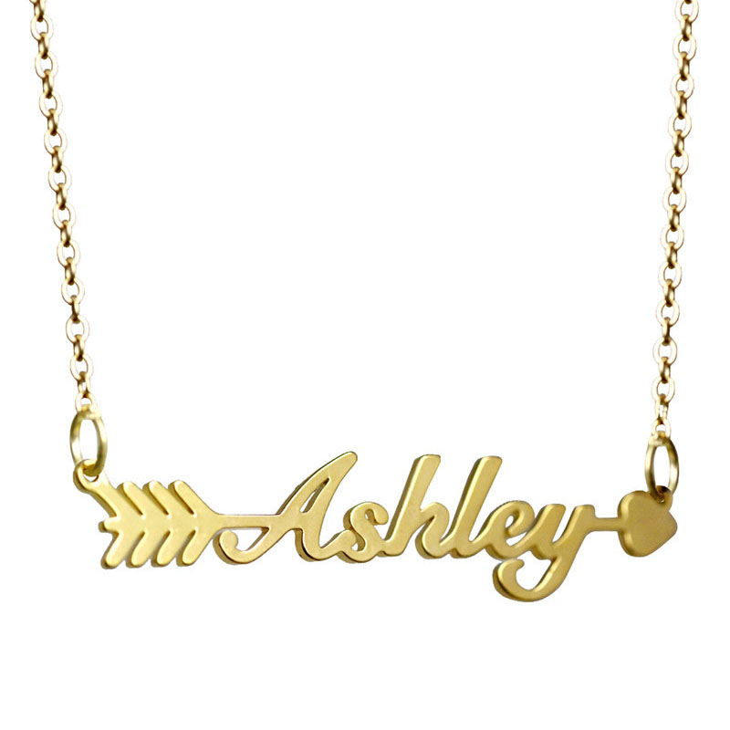 Custom stainless steel gold name necklace