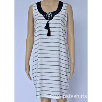 Women Striped Sleeveless Dress