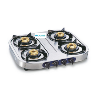 4 Brass Burners Stainless Steel Cooktop