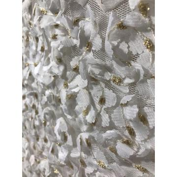 metallic 3D flower embroidery polyester white fabric