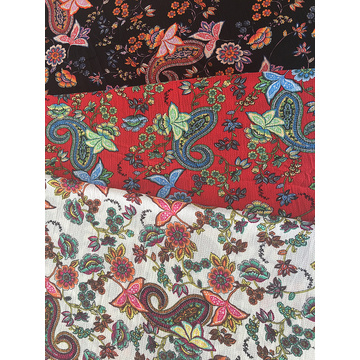 Paisley Design Polyester Bubble Crepe Printing Fabric