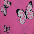 Pink Butterfly Printed With Cotton Poplin Fabric