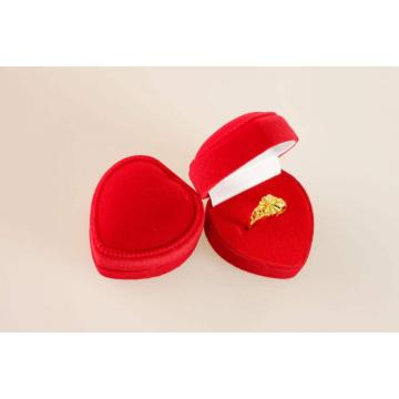 Elegant Heart-Shaped Velvet Ring Paper Box