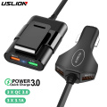USLION Multi USB 4 Port QC 3.0 Car Charger Quick Charge Phone Fast Front Backseat Clip Charging Adapter Portable Plug For iPhone