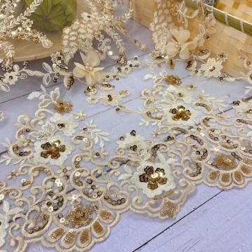 Yellow Chiffon Laser  Bead Sequin Embroidery Fabric
