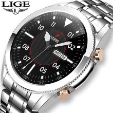 LIGE Steel Band Bluetooth Call Smart Watch Men Full Touch Screen Sports Watches Waterproof For Android ios smartwatch Mens Gift