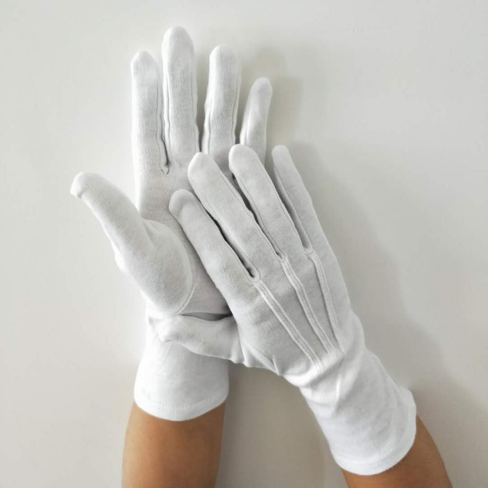 Tratteggiata cotone//PVC Lycra guanti bianchi taglia 10