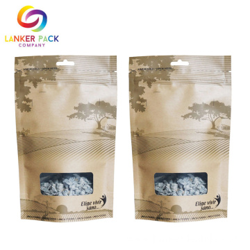Reusable Stand Up Pouch Window Paper Bag
