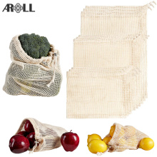Reusable Organic Cotton Mesh Produce Bags Kitchen Reusable Bag Cotton Mesh Vegetable Bags for Vegetable Fruit Bag Shopping Bag