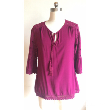 Round Neck with Tassel Loose Blouse