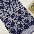 Dark Bule 3D Flower Sequin Embroidery Fabric