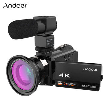 Andoer 4K 1080P 48MP WiFi Digital Video Camera Camcorder Recorder with 0.39X Wide Angle Lens External Microphone 3