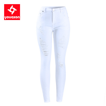 2067 Youaxon EU Size White Distressed Curvy Jeans Women`s Mid High Waist Stretch Denim Pants Ripped Skinny Jeans For Woman Jean