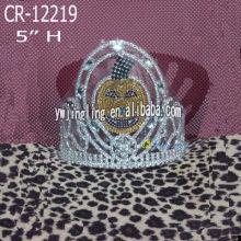5 Inch Pumpkin Crown Tall Silver Tiara