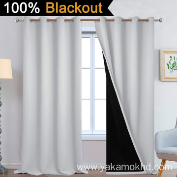 Light Grey 100% Blackout Curtains 108 Inch Long