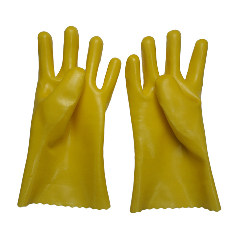 Yellow gloves dipped in rubber flannelette 27cm