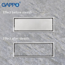 GAPPO Drains stainless steel recgangle bathroom floor waste drains shower drain strainer anti-odor ater drains strainer