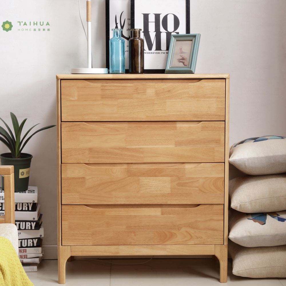 Light Solid Rubber Wood 4 Drawer Chest
