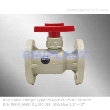 PPH Ball Valve Lever Handle Flange End JIS