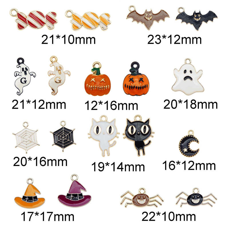 Julie Wang 18PCS Enamel Halloween Charms Mixed Candy Ghost Pumpkin Bat Spider Cat Hat Alloy Pendant Jewelry Making Accessory