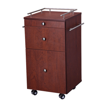 Wooden Trolley 3 Drawers Organizer Utility Cart