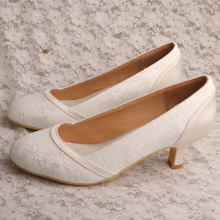 Beige Heels for Women Ivory Lace