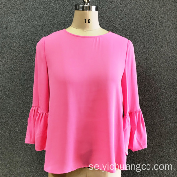kvinnors polyester rosa modeblus
