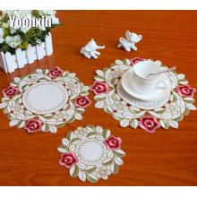 Elegant lace satin table place mat pad Cloth embroidery placemat cup mug Christmas gift tea coffee coaster dining doily kitchen