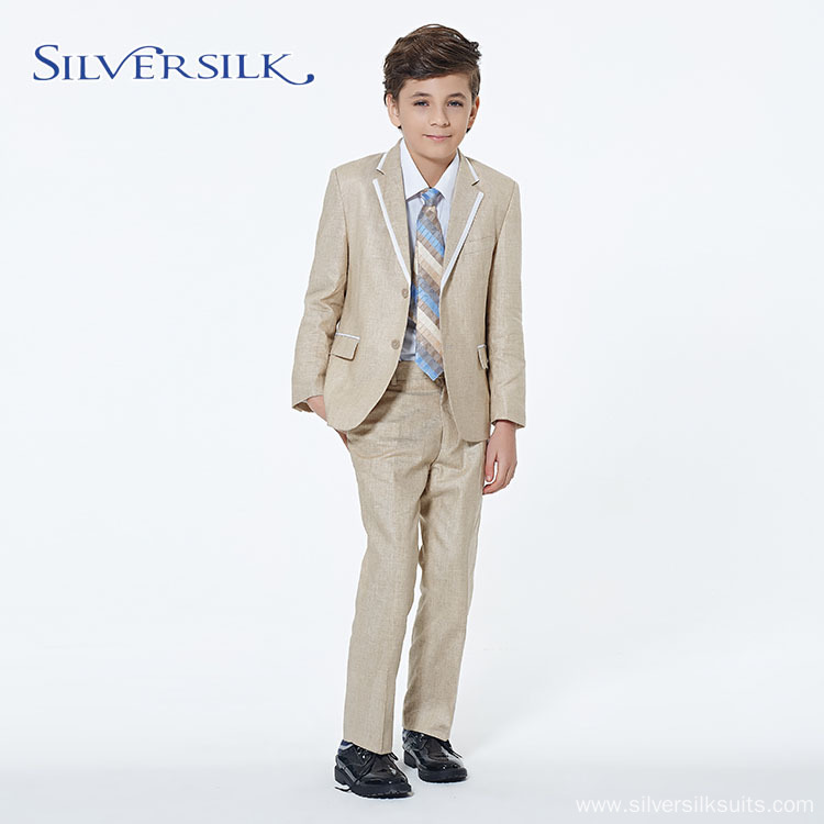 yellow linen cotton custom tuxedo boys blazer suits