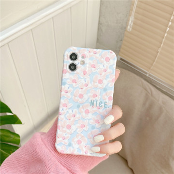 Fresh Flowers Painting Phone For iphone 12 mini 11 Pro Max 7 8 plus X XR XS Max SE 2020 Cute Back Cover Fashion Silicone Cases