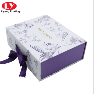 skincare luxury customized paper box with ribbon