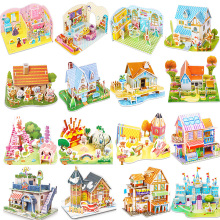 Attractive Cartoon Castle Garden Princess Doll House Furniture DIY Dollhouse 3D Puzzle Interesting Educational Toys For Children