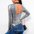 Snake Skin Halter Women Long Sleeve Sexy Bodysuit