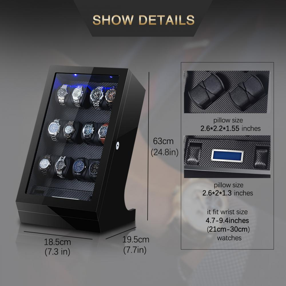 12 Watch Winder Box Acrylic Cover