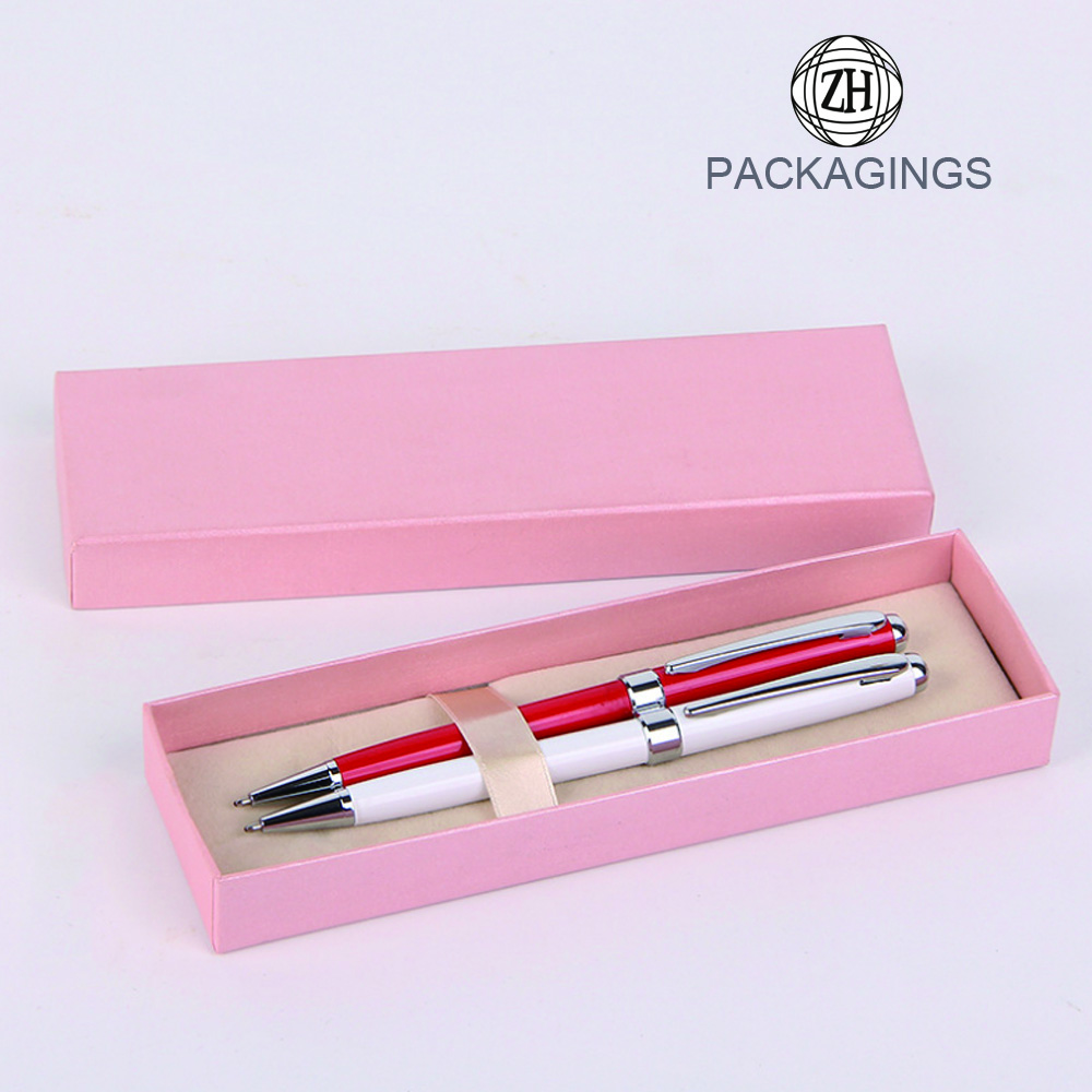 Pink color cardboard pen gift box packaging new