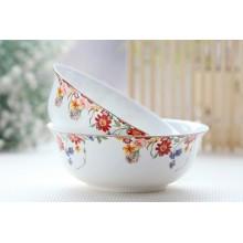 6 inch, gilded banding, rose flower painting, bone china soup bowl set, decorative ceramic salad bowl, big bowl for soup serving
