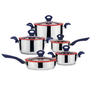 Straight shape stainless steel cookware with silicone handle
