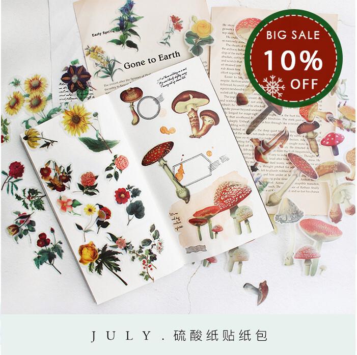 Sulphate Paper Sticker Coating Suk Kam Fan Flower Mushroom Sticker Sticker Creative Stationery Handbill Sticker Map