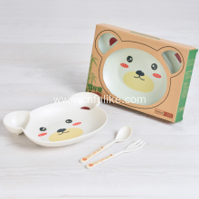 3-Pieces Natural Bamboo Fiber Child Tableware